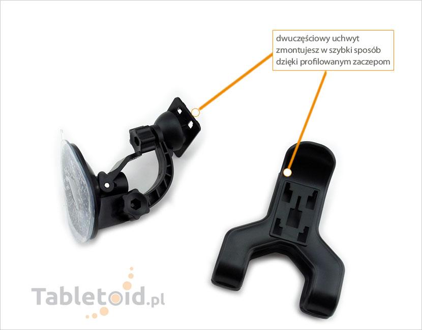 dwuczęściowy uchwyt na tablet do samochodu