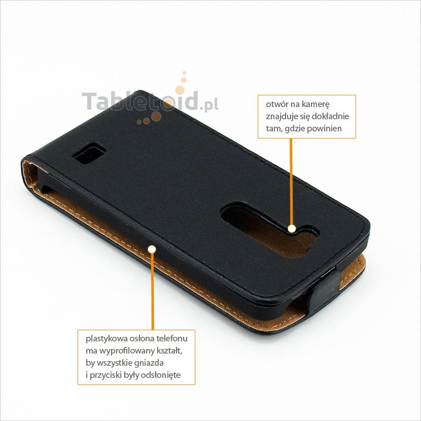 Pokrowiec z wyprofilowanymi otworami do telefonu LG L Fino D290N, L70+, LG G2 Lite D295