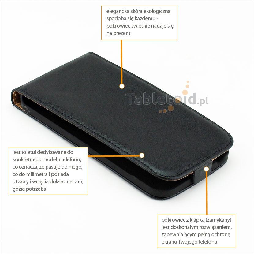 Futerał z eko-skóry do telefonu HTC Desire 616