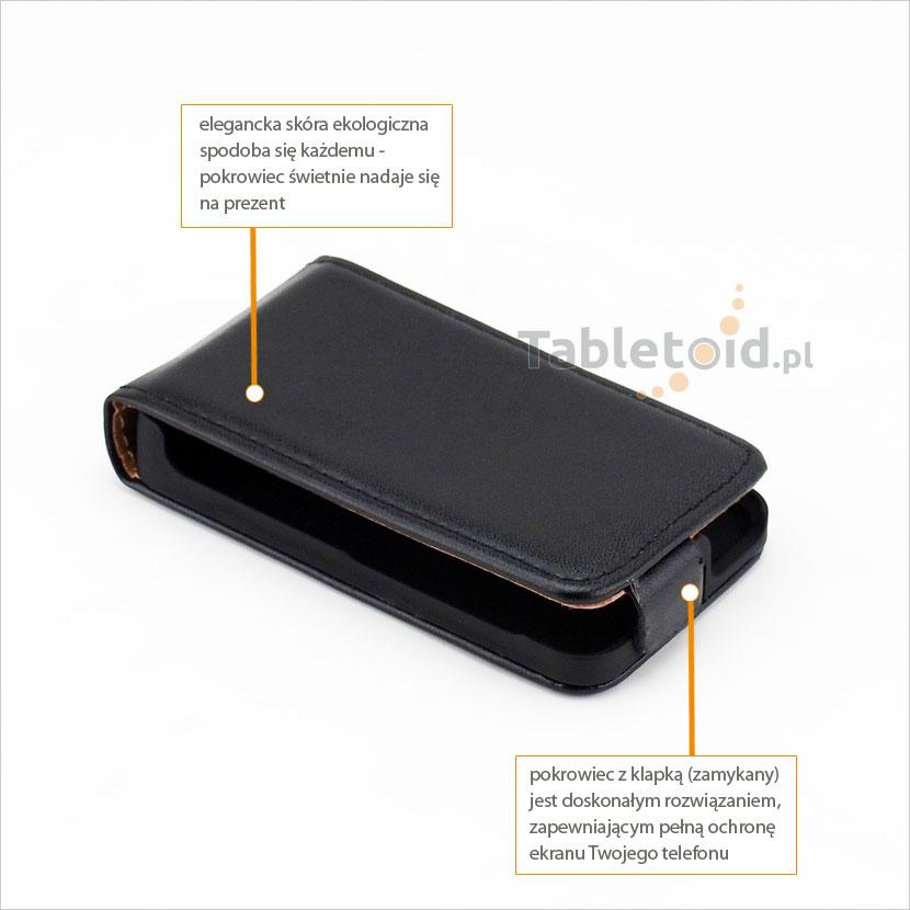 Elegancki ze skóry ekologicznej do telefonu Nokia Asha 501 RM-899