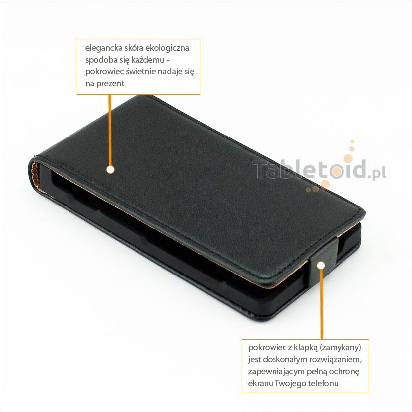 Elegancki futerał ze skóry ekologicznej do telefonu Nokia Lumia 525 RM-998