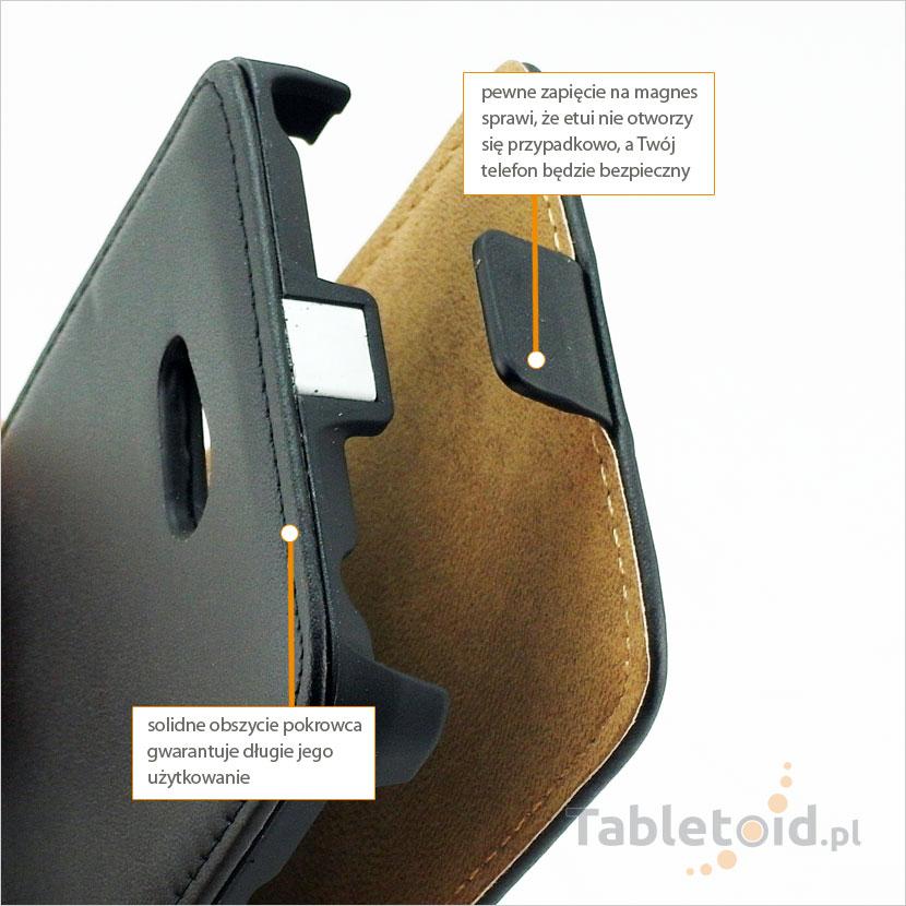 Pokrowiec ze skóry ekologicznej do telefonu Nokia Lumia 625