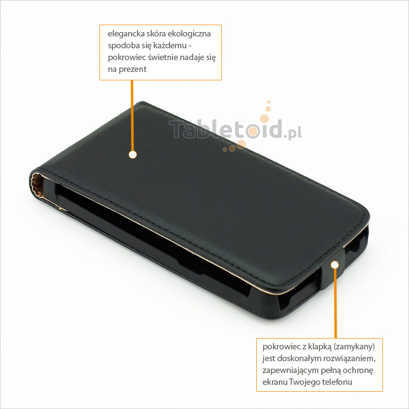 Elegancki pokrowiec z eko skóry dopasowany do telefonu Nokia 625