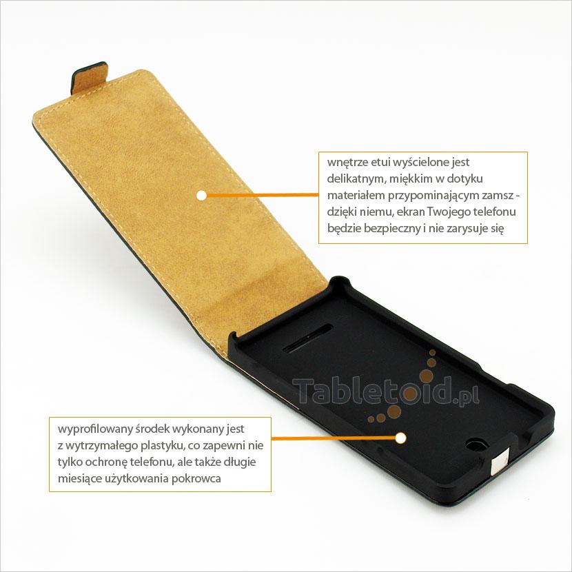 Pokrowiec zamykany na magnes z klapką na telefon Sony Xperia E