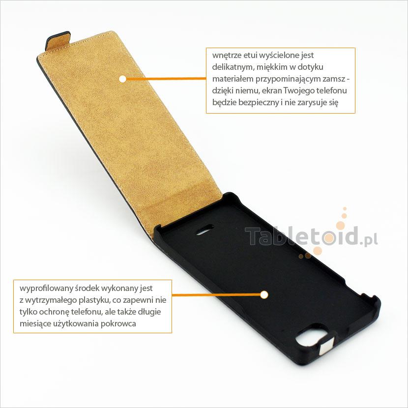 Etui ze skóry ekologicznej na telefon Sony Xperia J