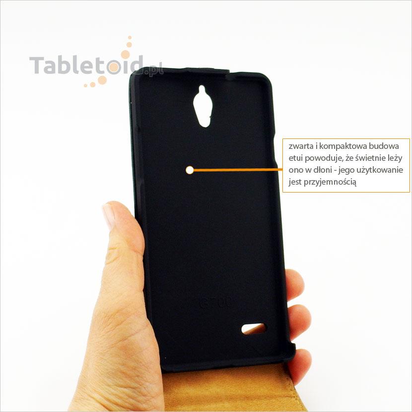 Etui na telefon Huawei Ascent G700 z ekologicznej skóry