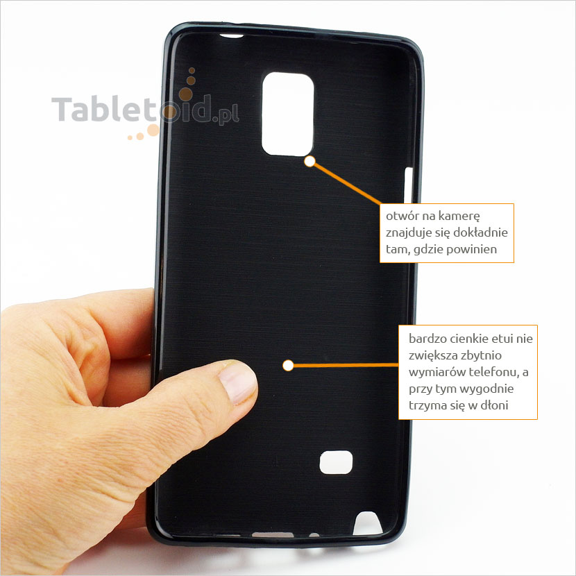 Praktyczne etui na telefon Samsung Galaxy Note 4 wygodnie i stabilnie trzyma się w  ręce