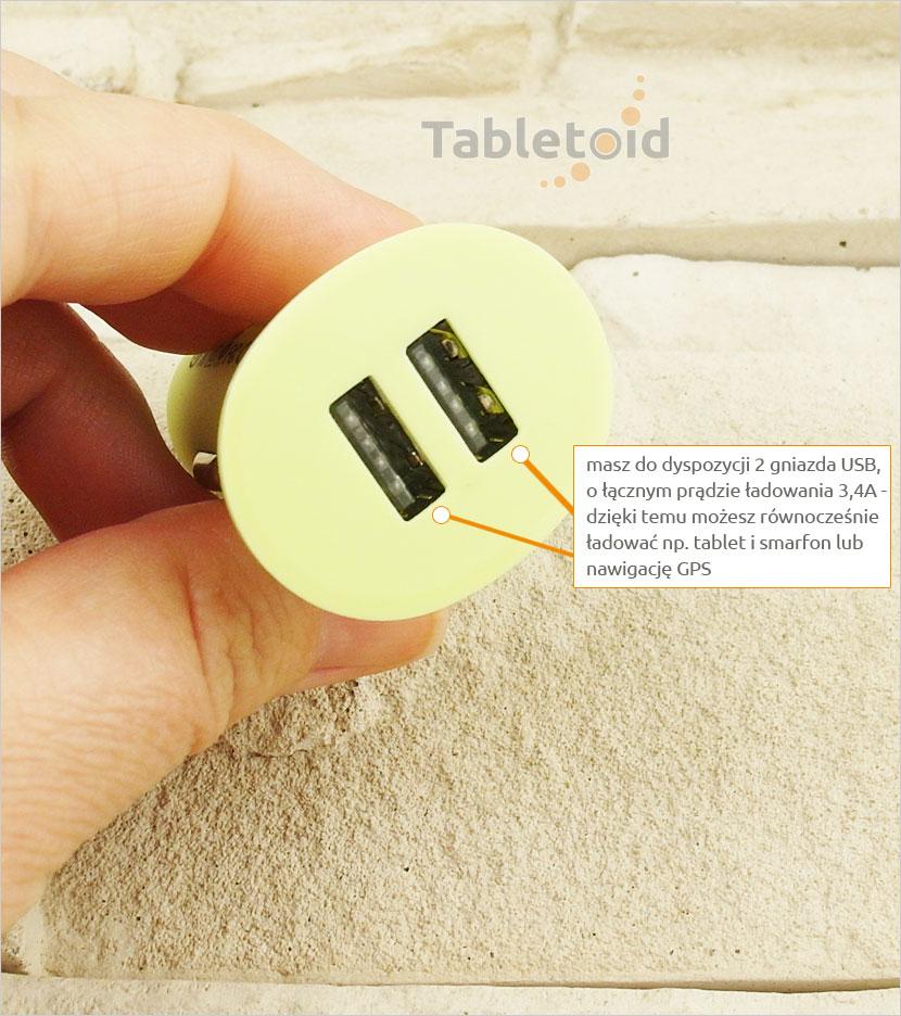2 gniazda USB do zasilania tabletów na Androidzie, Windows, Apple iPad