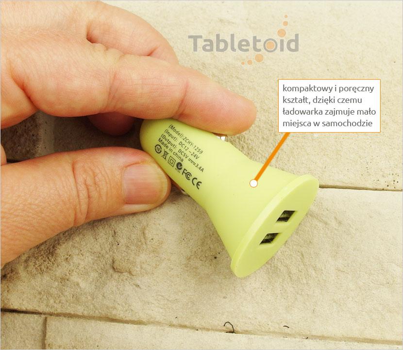 Ładowarka samochodowa do tabletu USB 5V 3.4A
