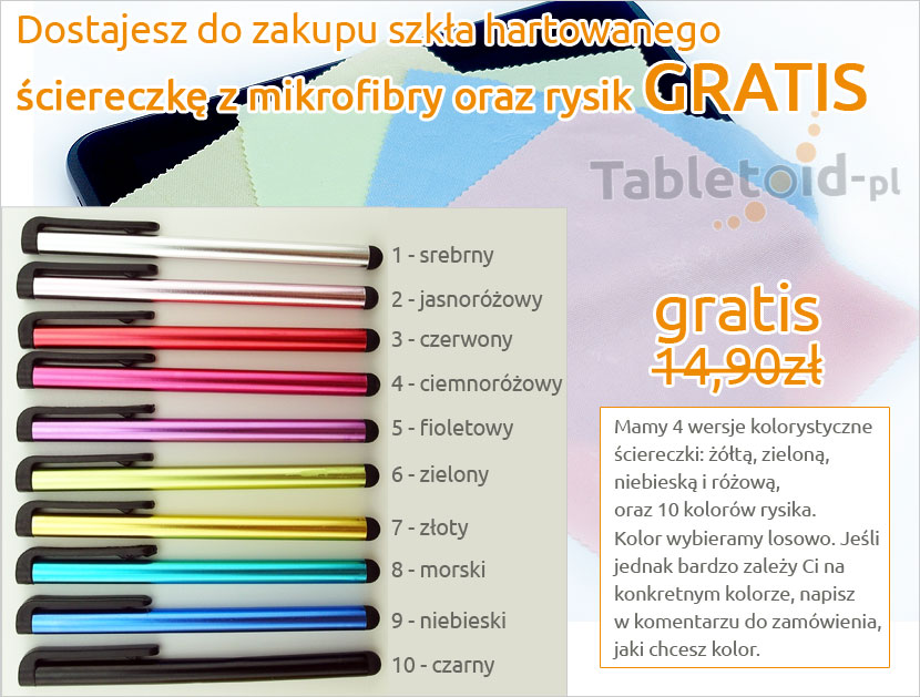 Gratisy do szkła hartowanego do tabletu Q88 Tablet PC 7 cali