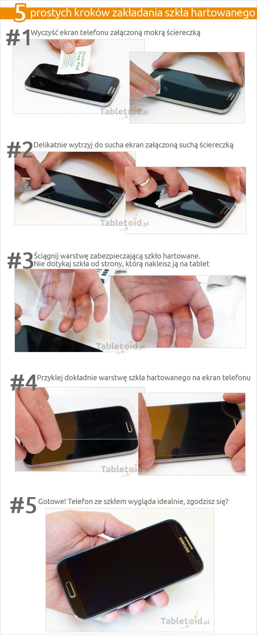 Schemat zakładania szkła na HTC Desire 628