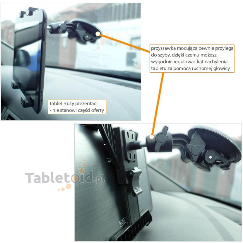 uchwyt samochodowy do tabletu na szybę - montaż