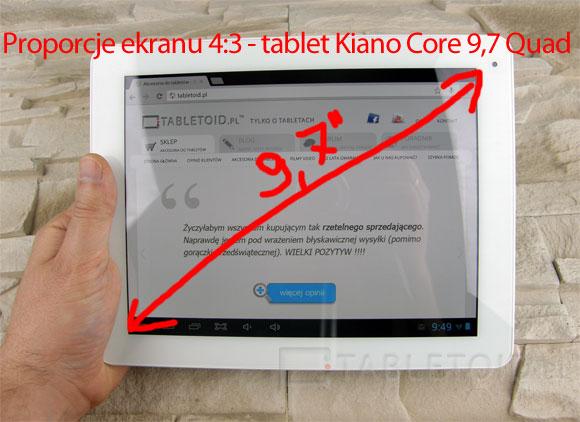 Tablet Kiano Core 9,7 Quad o proporcjach matrycy 4:3