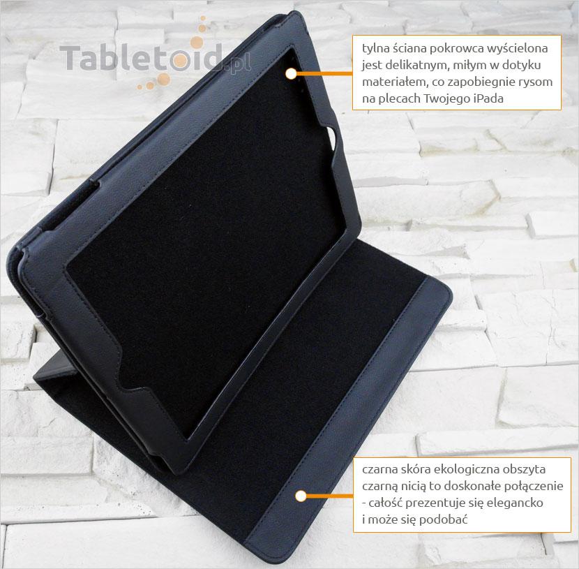 Etui na iPada z czarnej skóry ekologicznej
