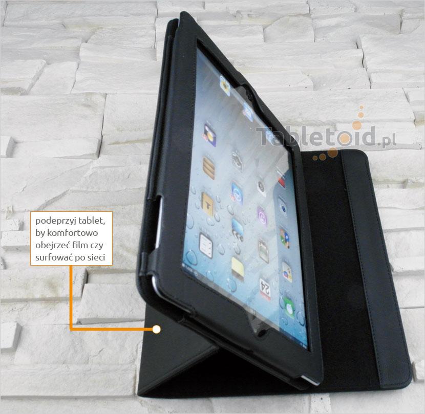 Podparty tablet w pokrowcu książkowym