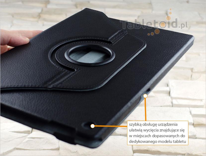 dedykowane wycięcia w etui do tabletu Sony Xperia Z