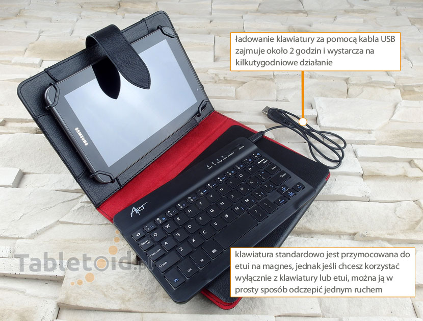 klawiatura bluetooth w etui do tabletu 7.85-8 cali