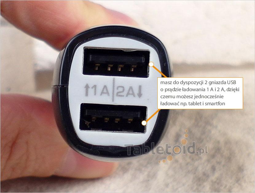 dwa wejścia USB ładowarki