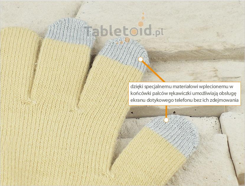 specjalny materiał wpleciony w końcówki palców