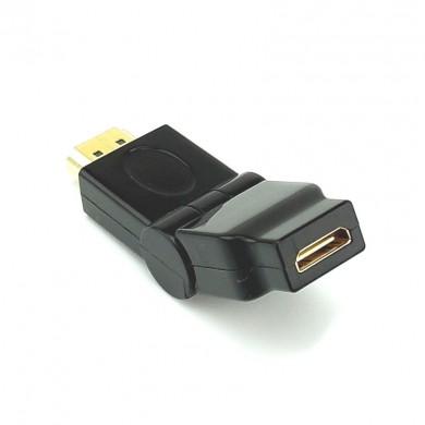 Adapter, przejściówka: mini HDMI (gniazdo) do HDMI (wtyk) – kątowy 180 stopni, regulowany